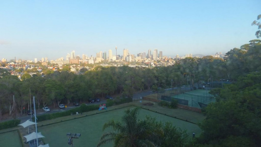 View overlooking Paddington Bowling Club and Sydney city