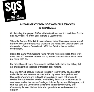 Call for Parliamentary Inquiry into changes at NSW women's refuges